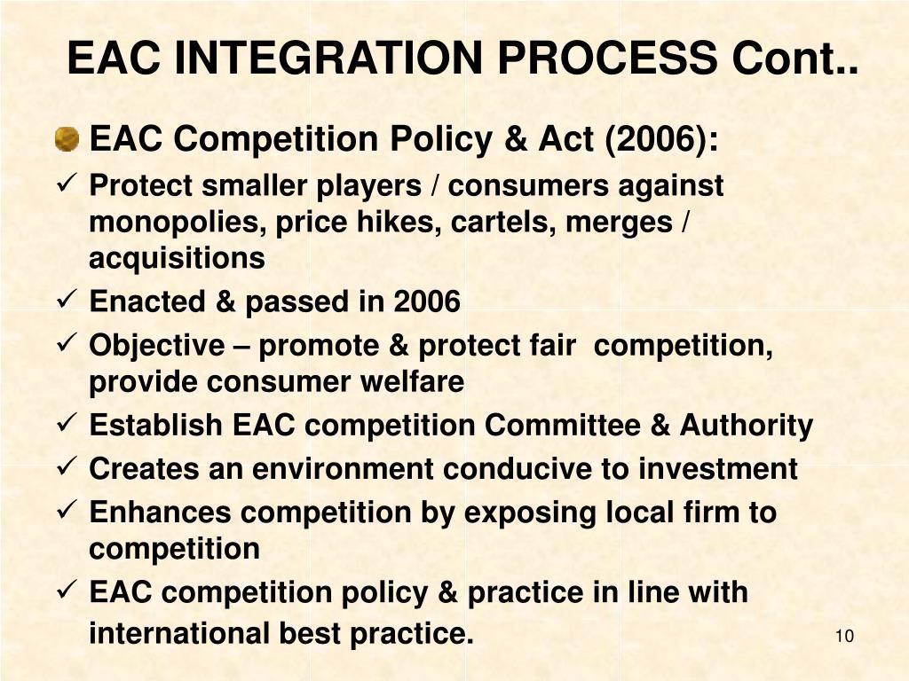 EAC INTEGRATION PROCESS Cont..