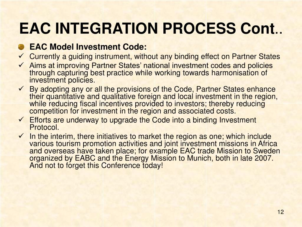 EAC INTEGRATION PROCESS Cont