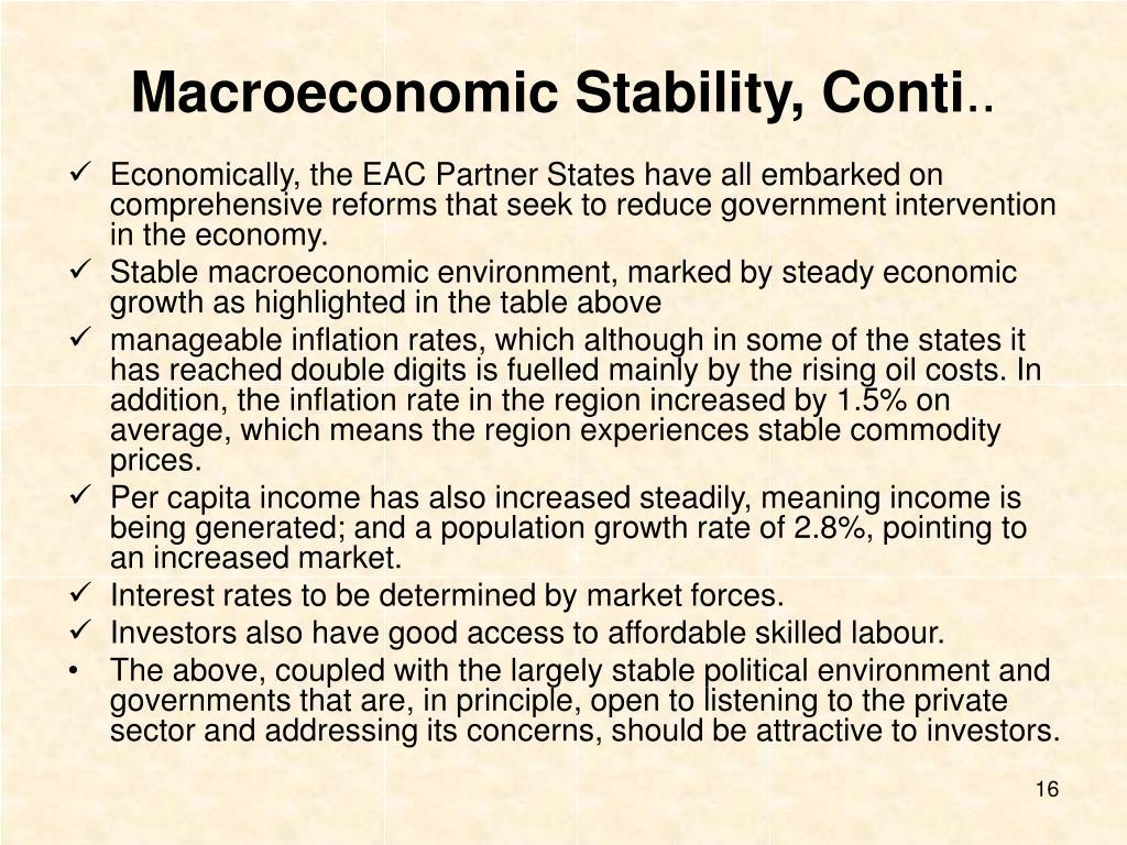 Macroeconomic Stability, Conti