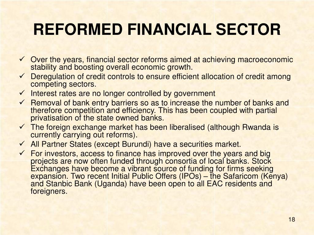 REFORMED FINANCIAL SECTOR