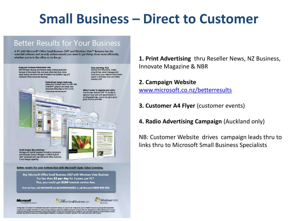 Small Business – Direct to Customer