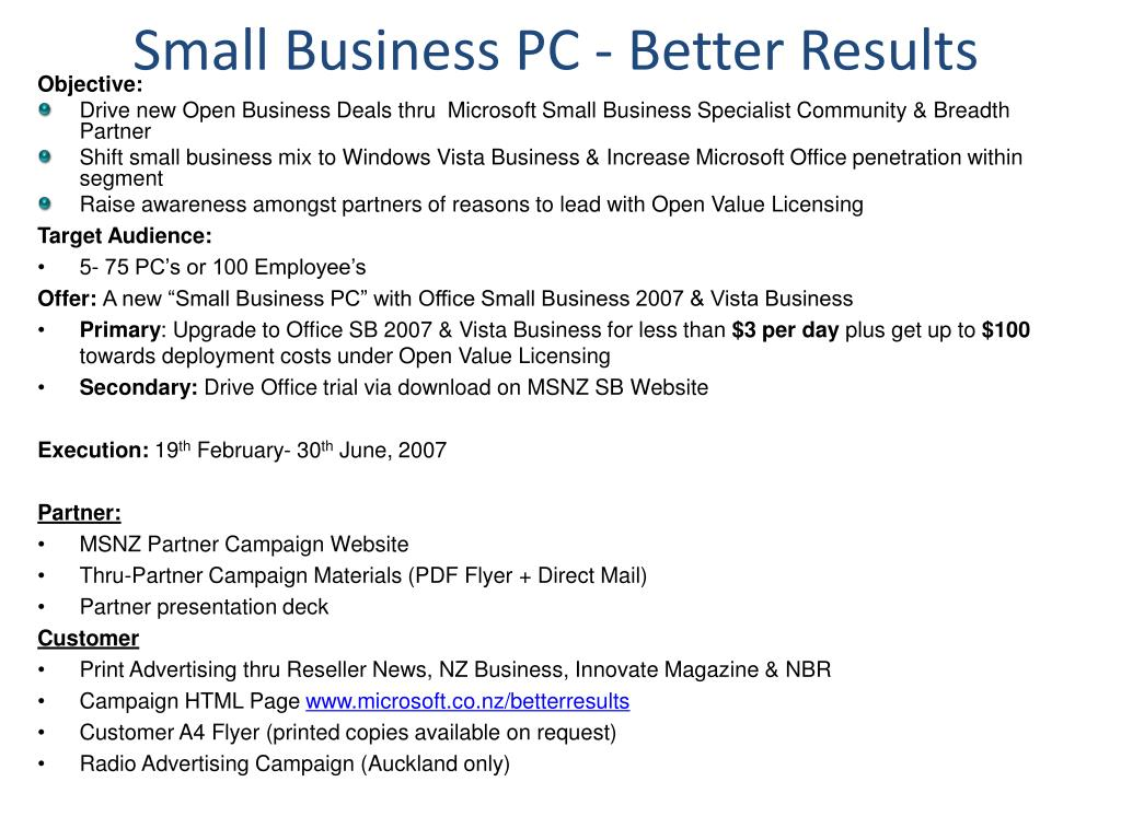 Small Business PC - Better Results