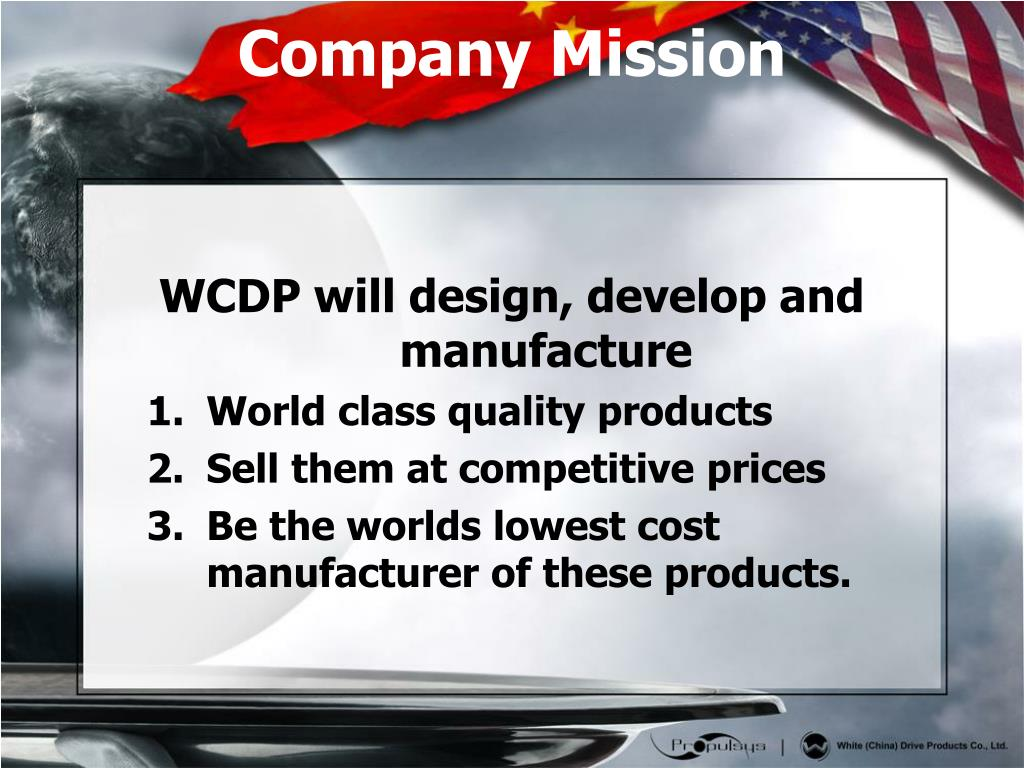 WCDP will design, develop and manufacture