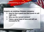 establishing a company in china