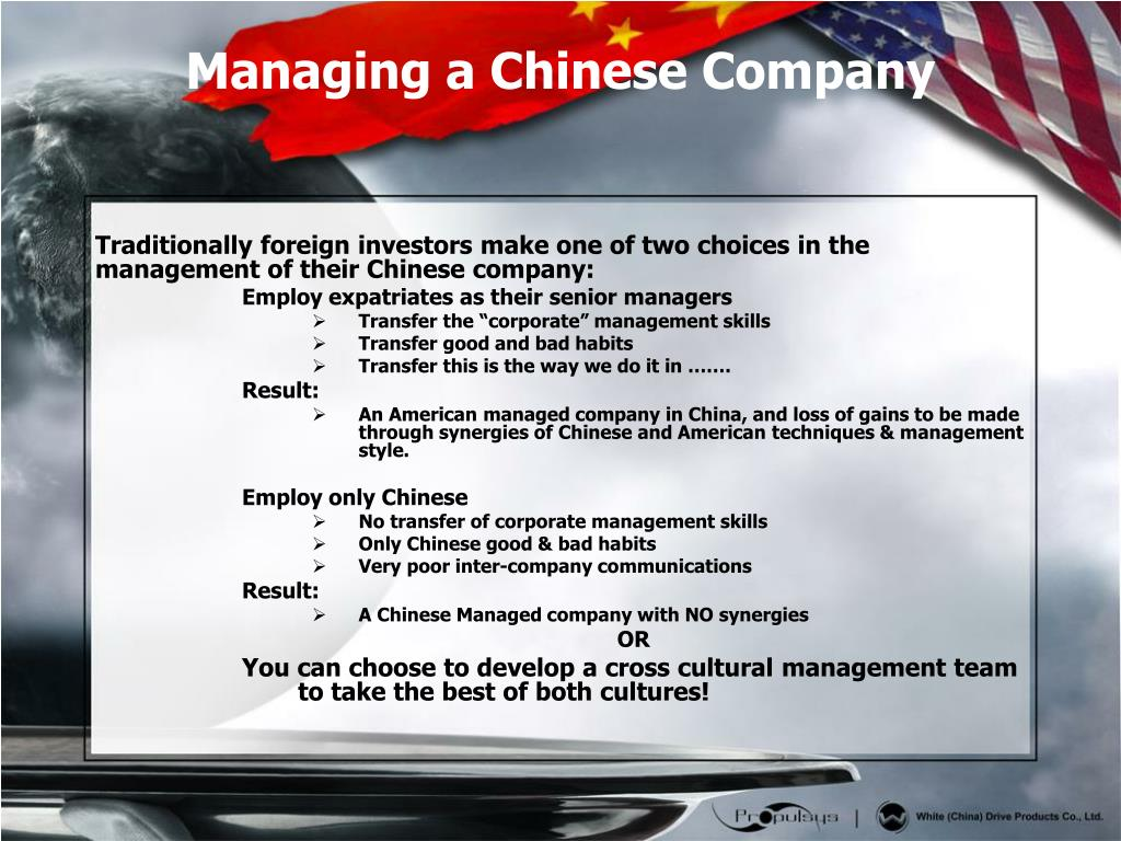 Traditionally foreign investors make one of two choices in the management of their Chinese company: