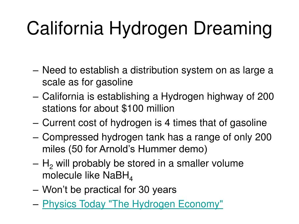 California Hydrogen Dreaming