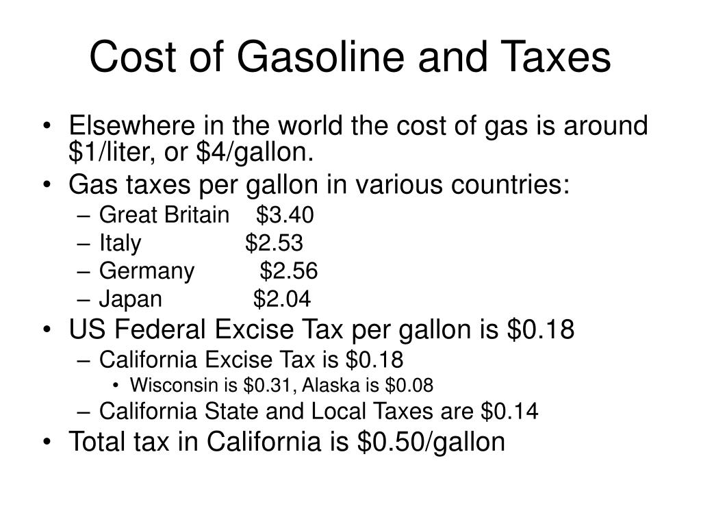 Cost of Gasoline and Taxes