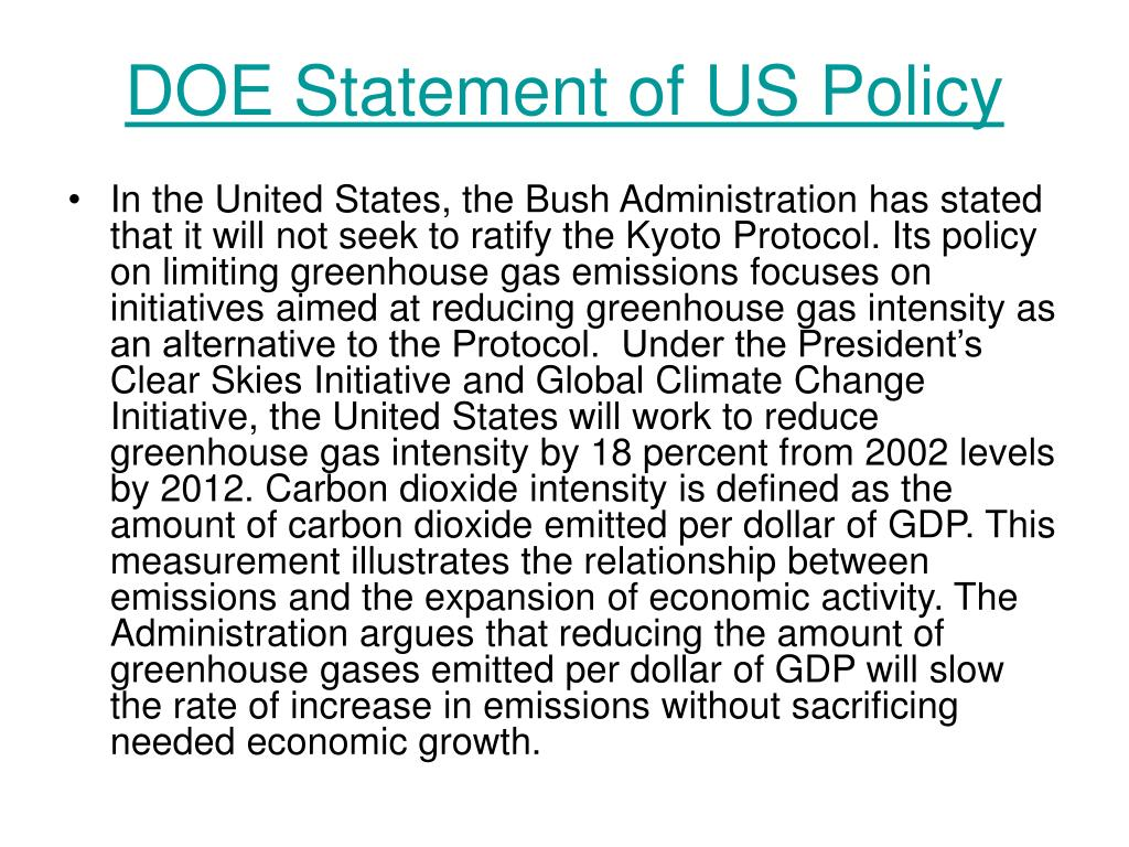DOE Statement of US Policy