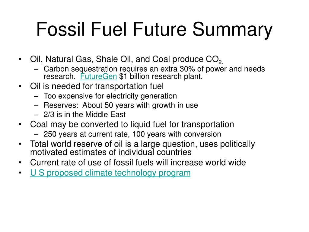 Fossil Fuel Future Summary