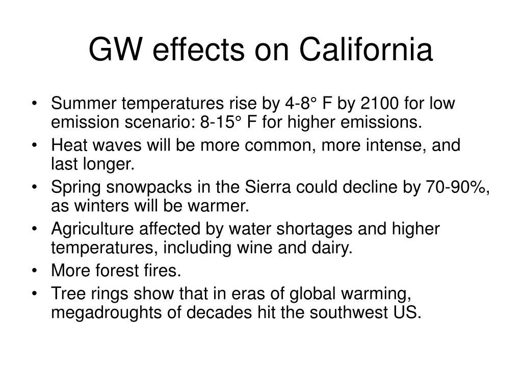 GW effects on California