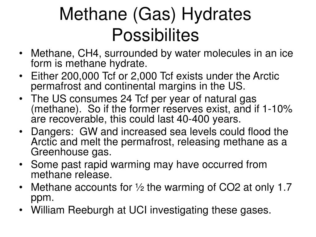 Methane (Gas) Hydrates Possibilites
