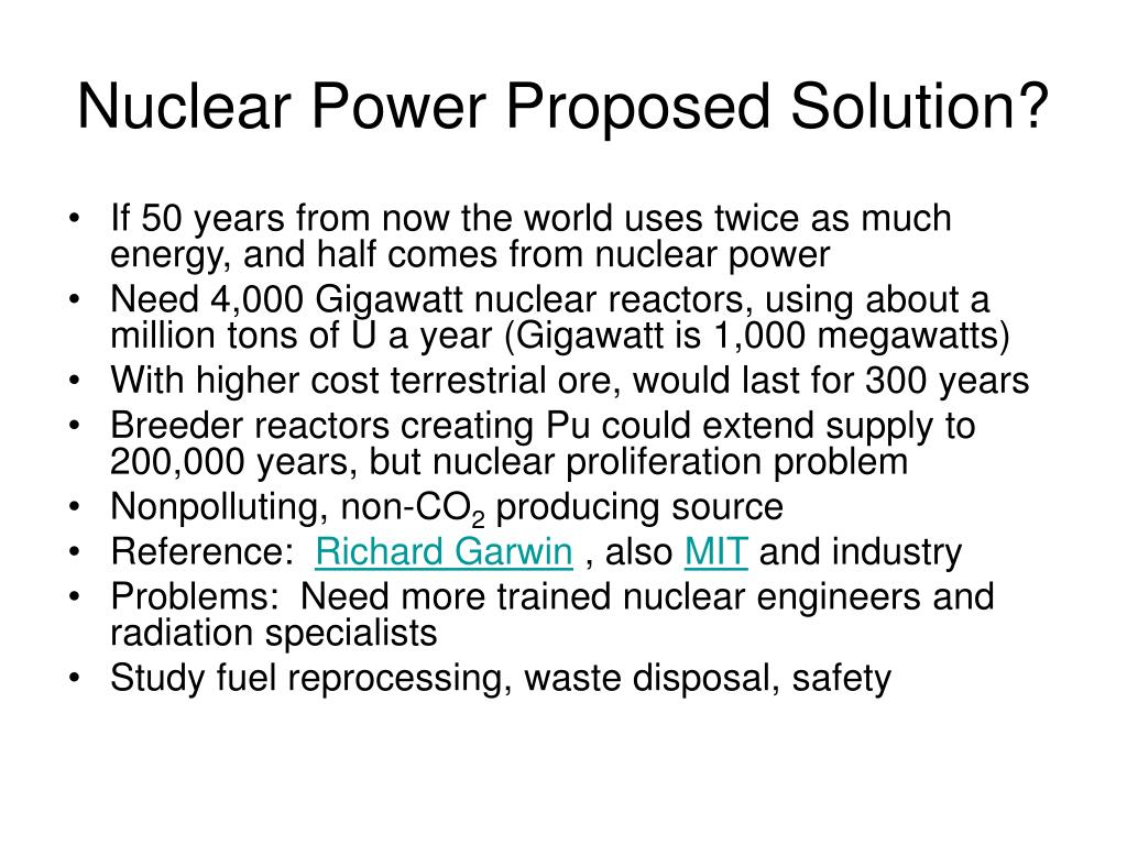 Nuclear Power Proposed Solution?