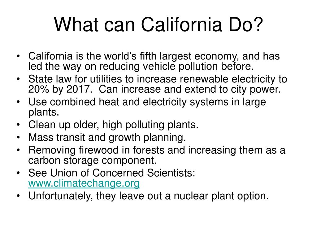 What can California Do?