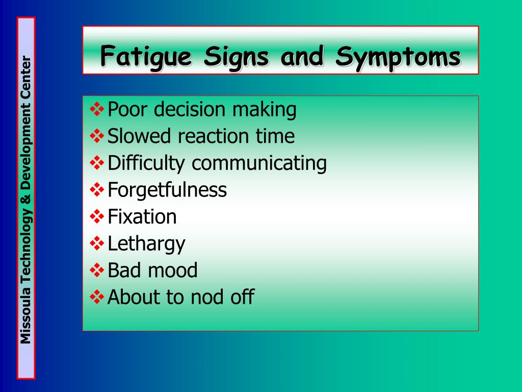 Fatigue Signs and Symptoms