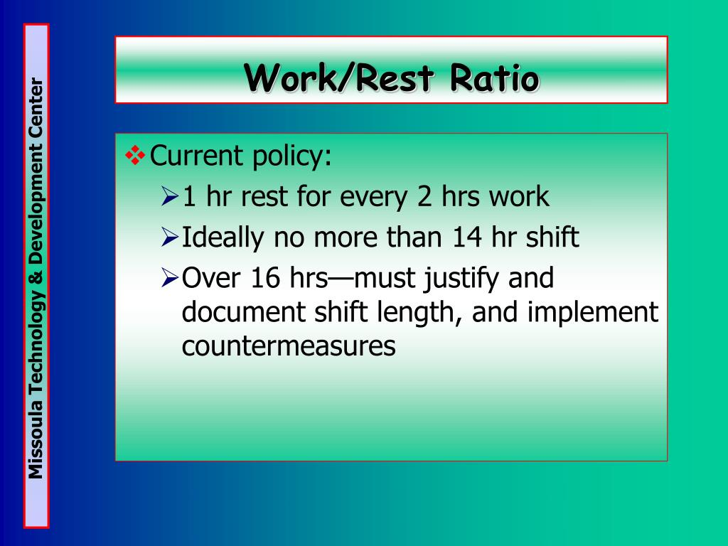 Work/Rest Ratio