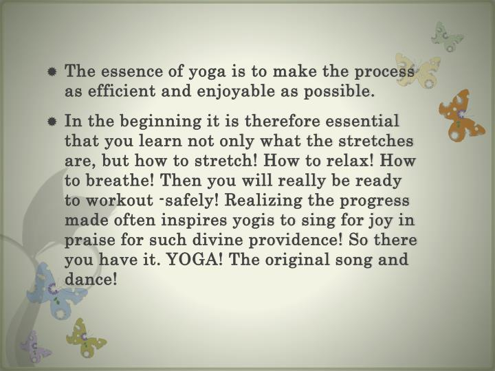 The essence of yoga is to make the process as efficient and enjoyable as possible.
