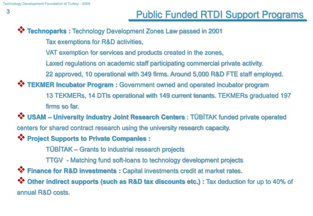 Public Funded RTDI Support Programs
