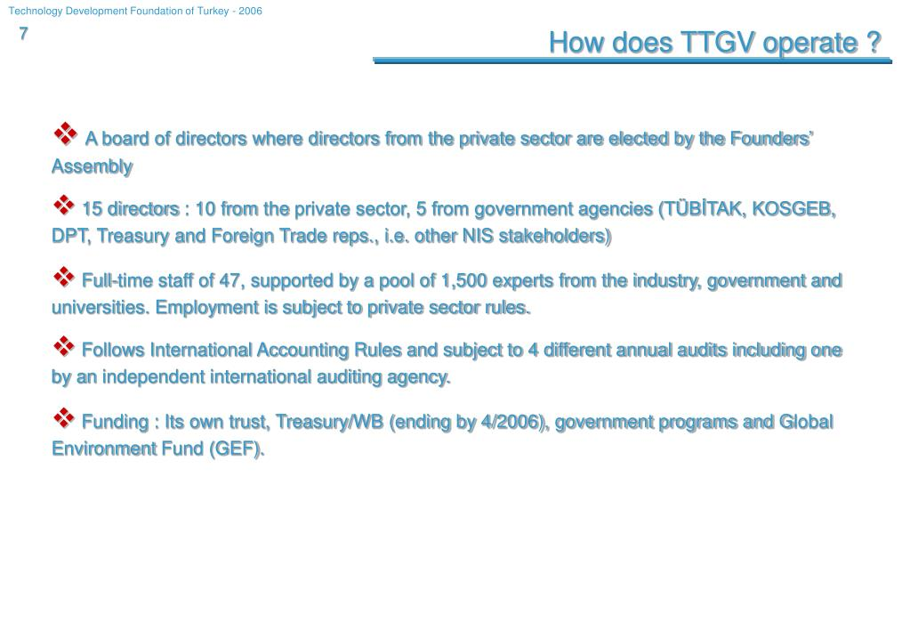 How does TTGV operate ?