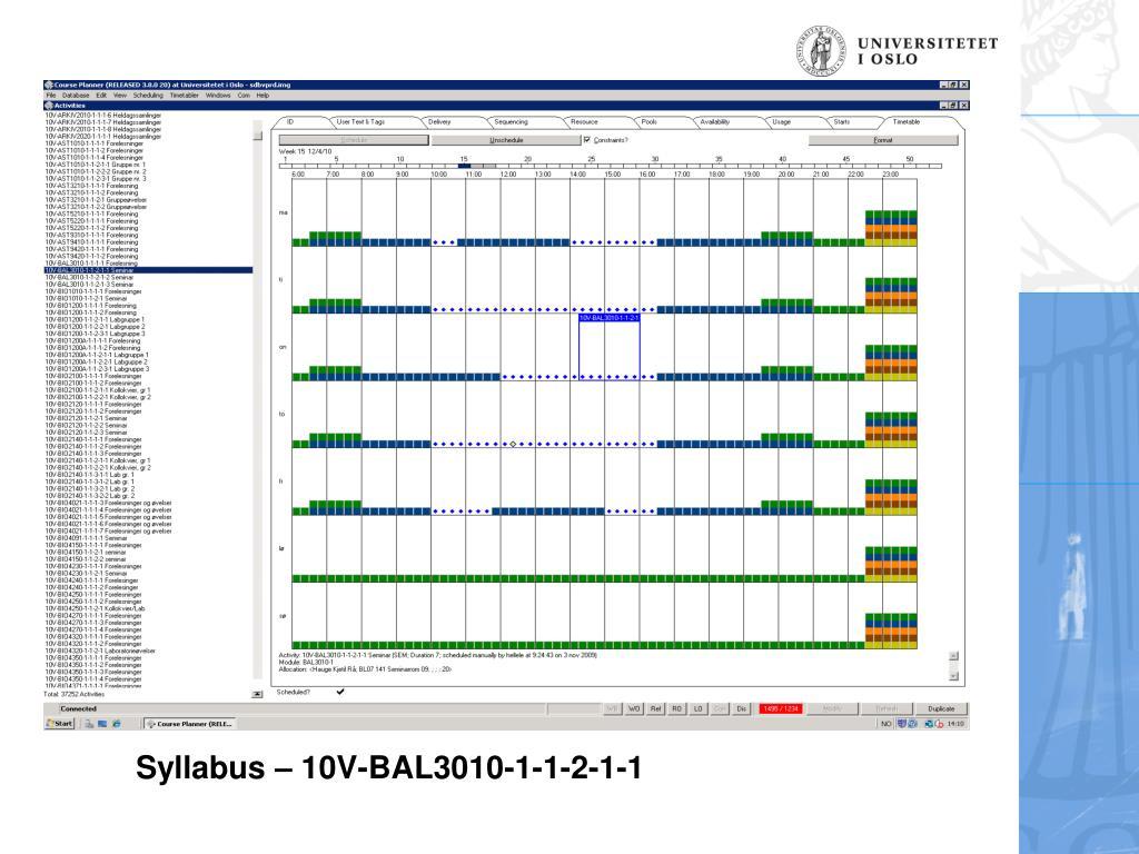 Syllabus – 10V-BAL3010-1-1-2-1-1