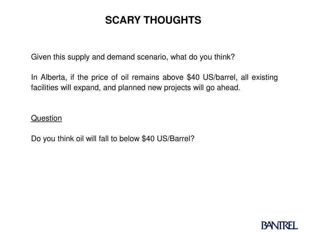 Given this supply and demand scenario, what do you think?