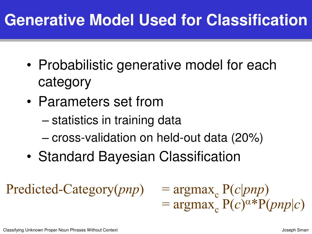 Generative Model Used for Classification