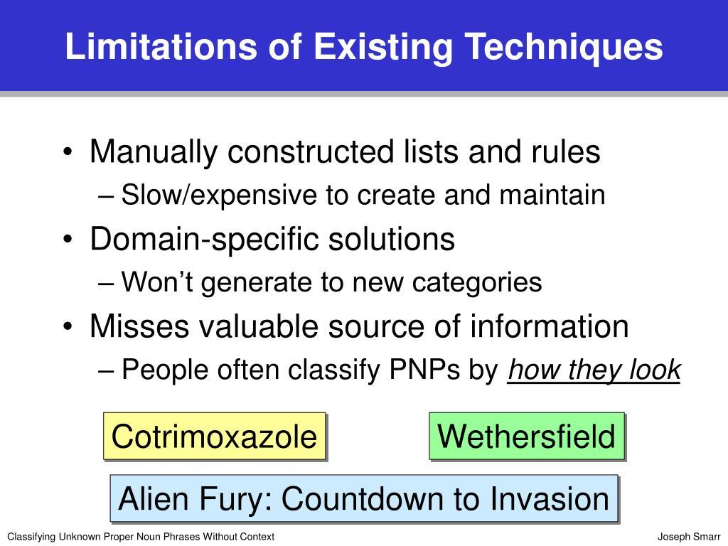 Limitations of Existing Techniques