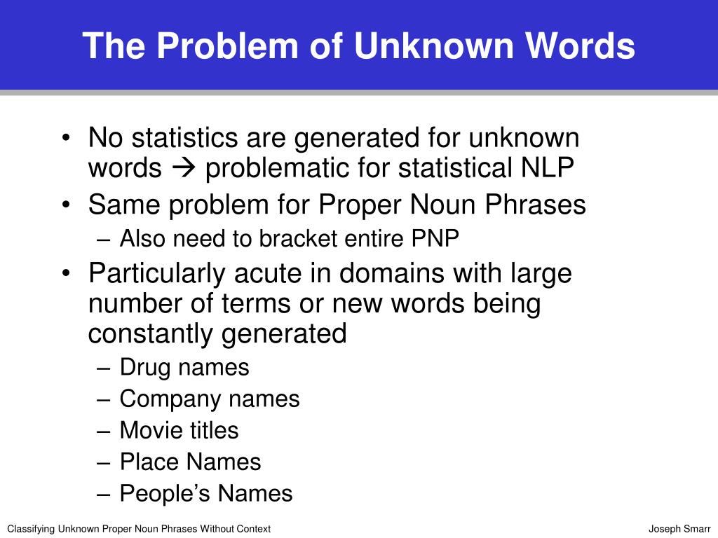 The Problem of Unknown Words