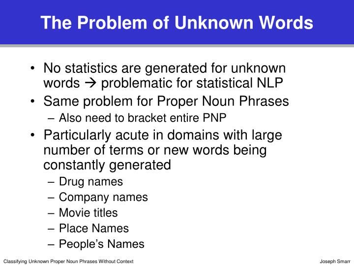 The problem of unknown words l.jpg