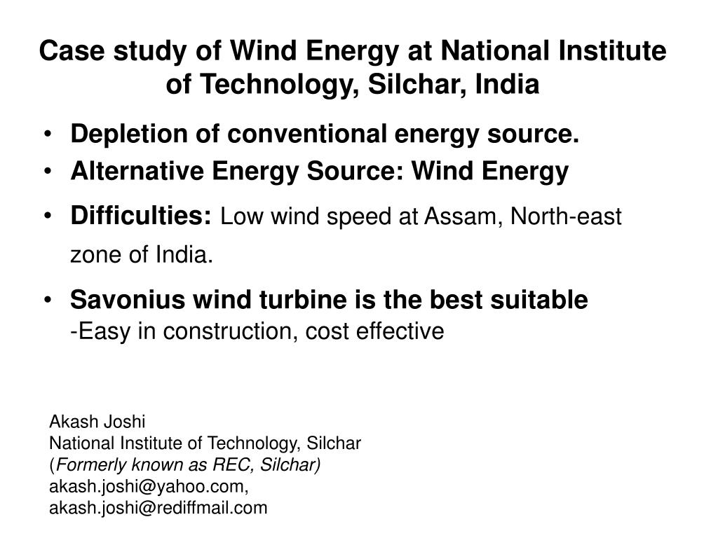 Case study of Wind Energy at National Institute of Technology, Silchar, India