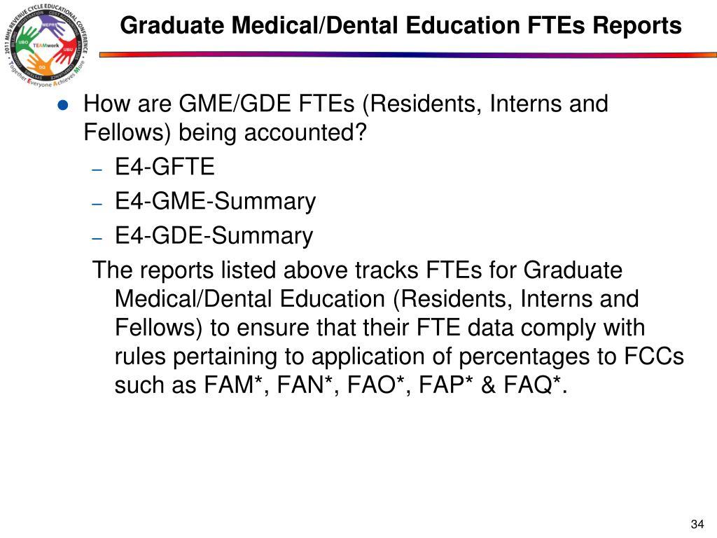 Graduate Medical/Dental Education FTEs Reports
