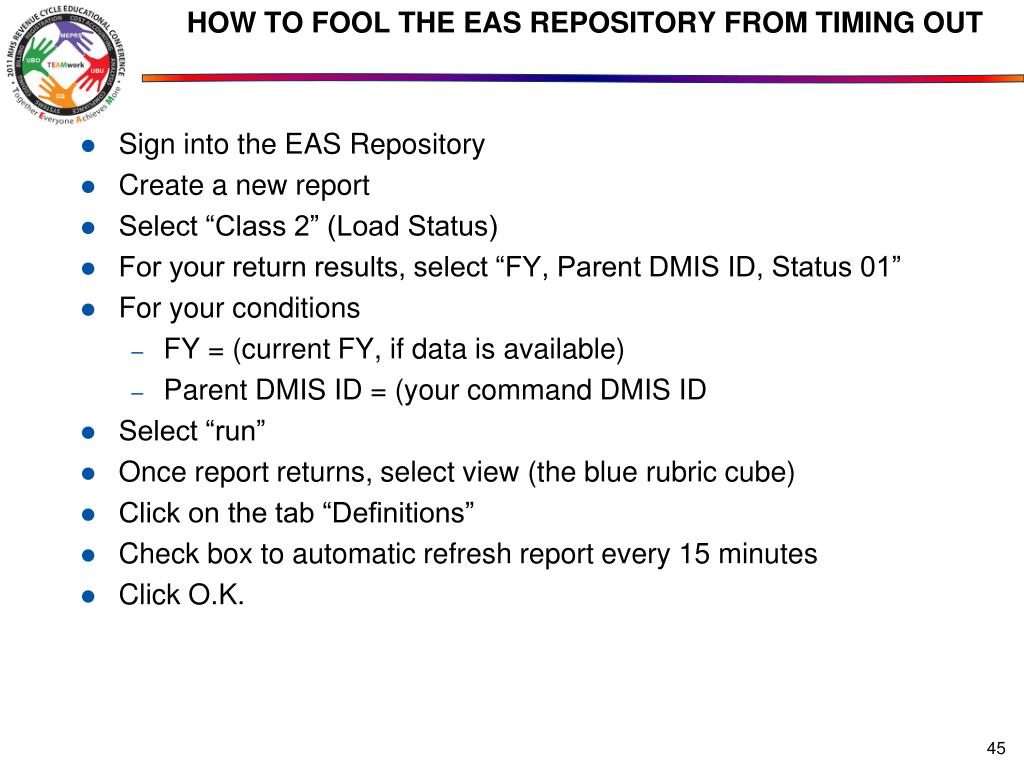 HOW TO FOOL THE EAS REPOSITORY FROM TIMING OUT
