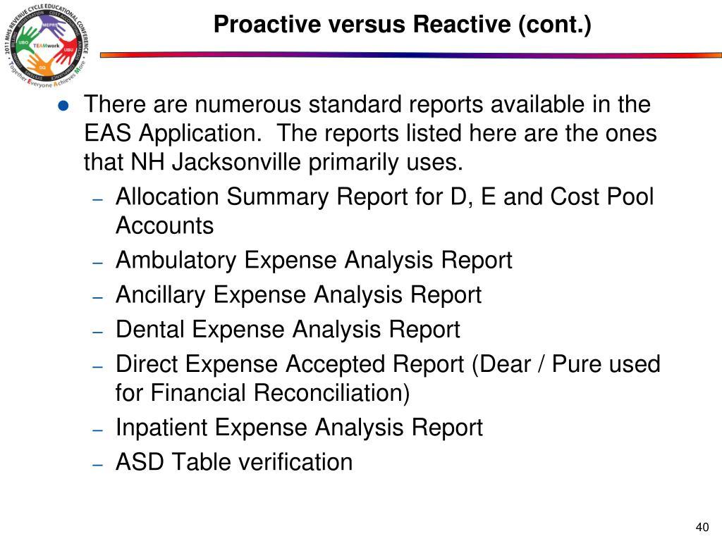 Proactive versus Reactive (cont.)