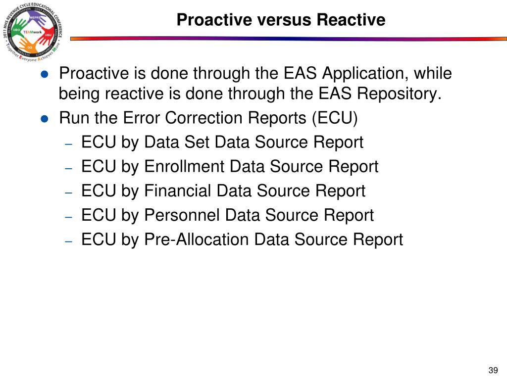Proactive versus Reactive