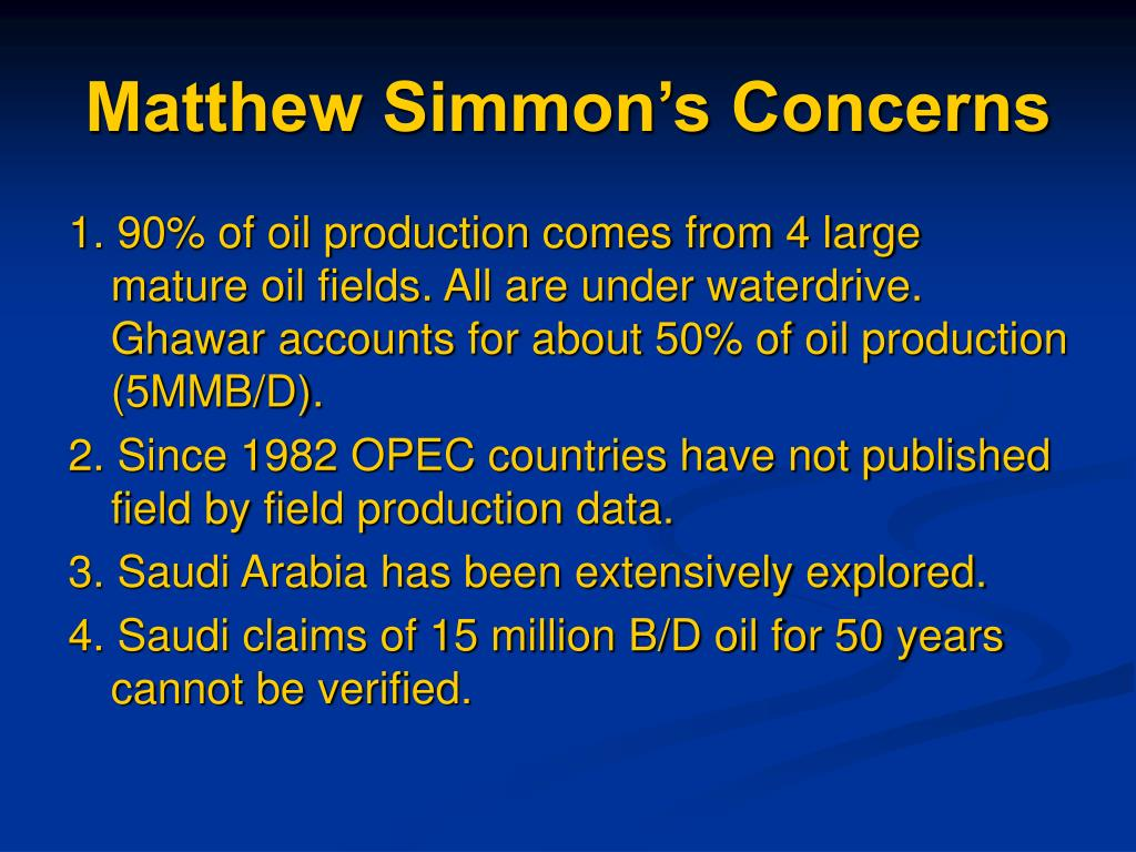 Matthew Simmon's Concerns