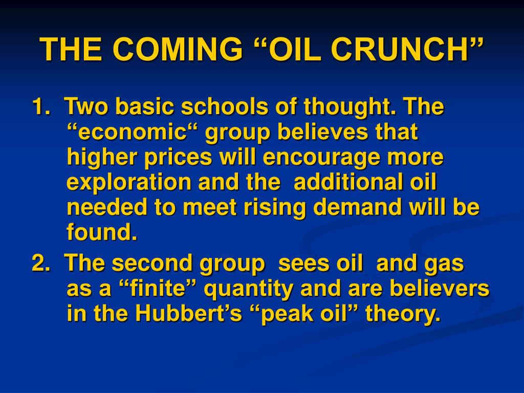 """THE COMING """"OIL CRUNCH"""""""