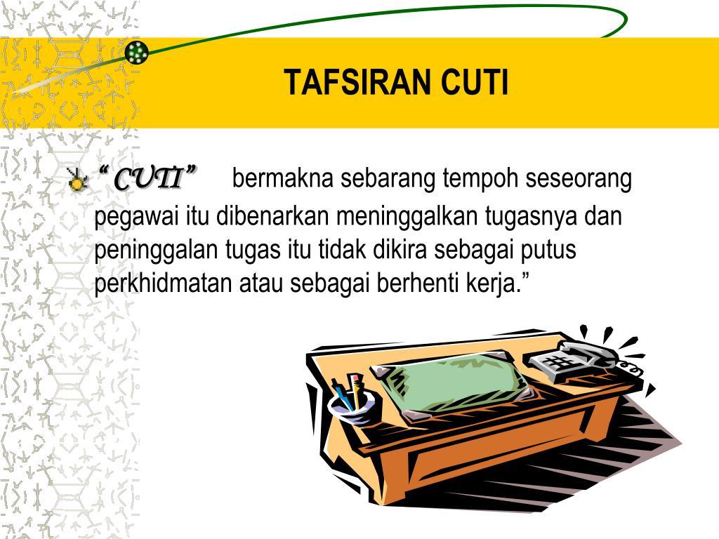 TAFSIRAN CUTI