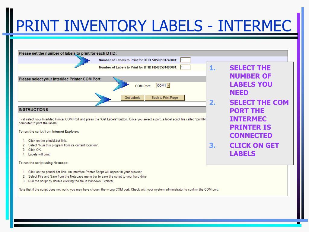 PRINT INVENTORY LABELS - INTERMEC