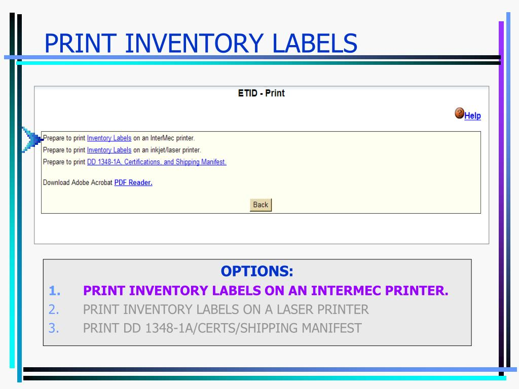 PRINT INVENTORY LABELS