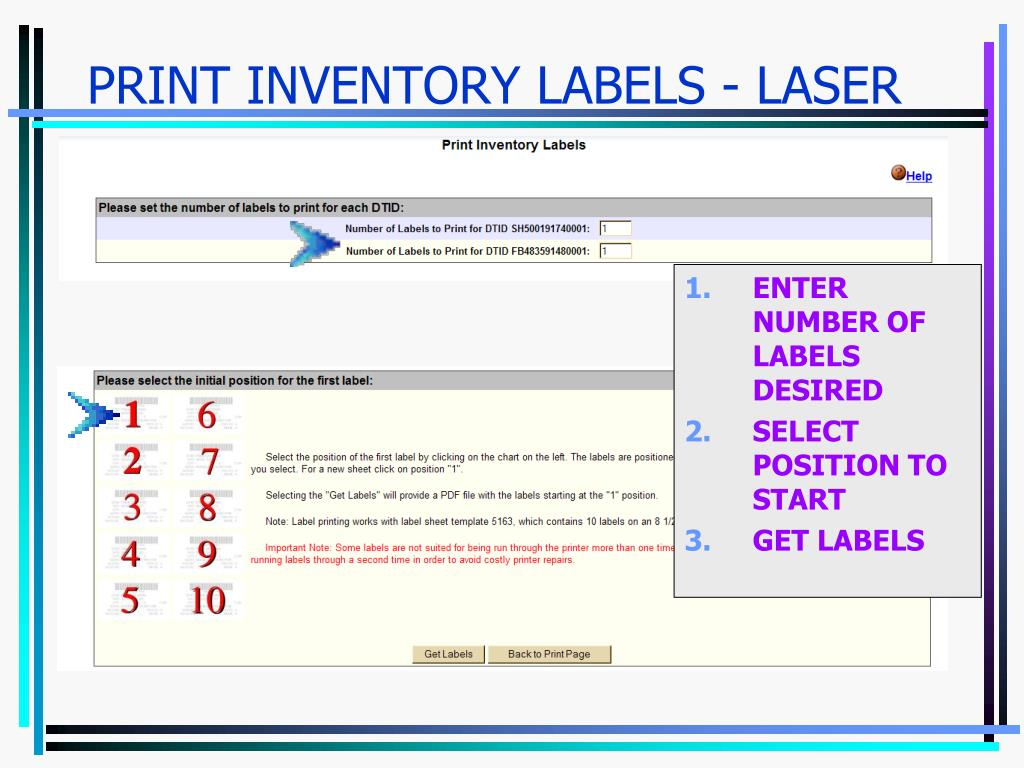 PRINT INVENTORY LABELS - LASER