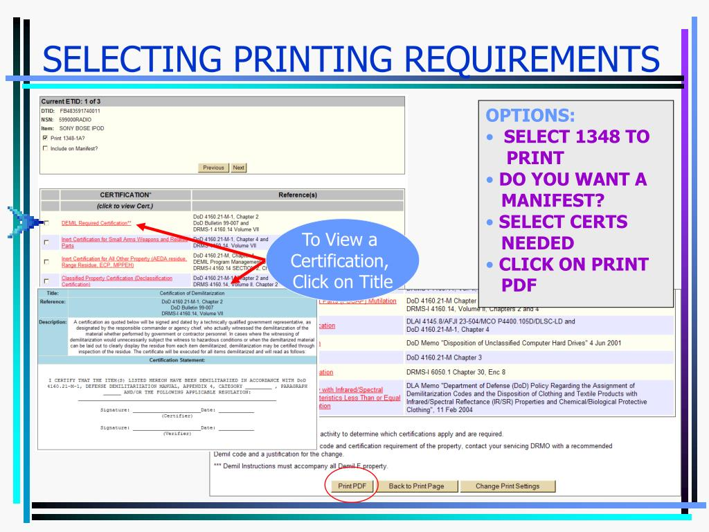 SELECTING PRINTING REQUIREMENTS