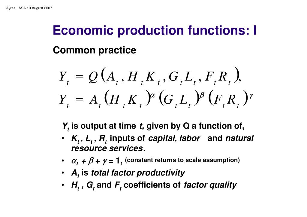 Economic production functions: I