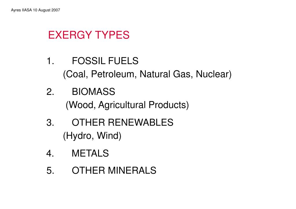 EXERGY TYPES