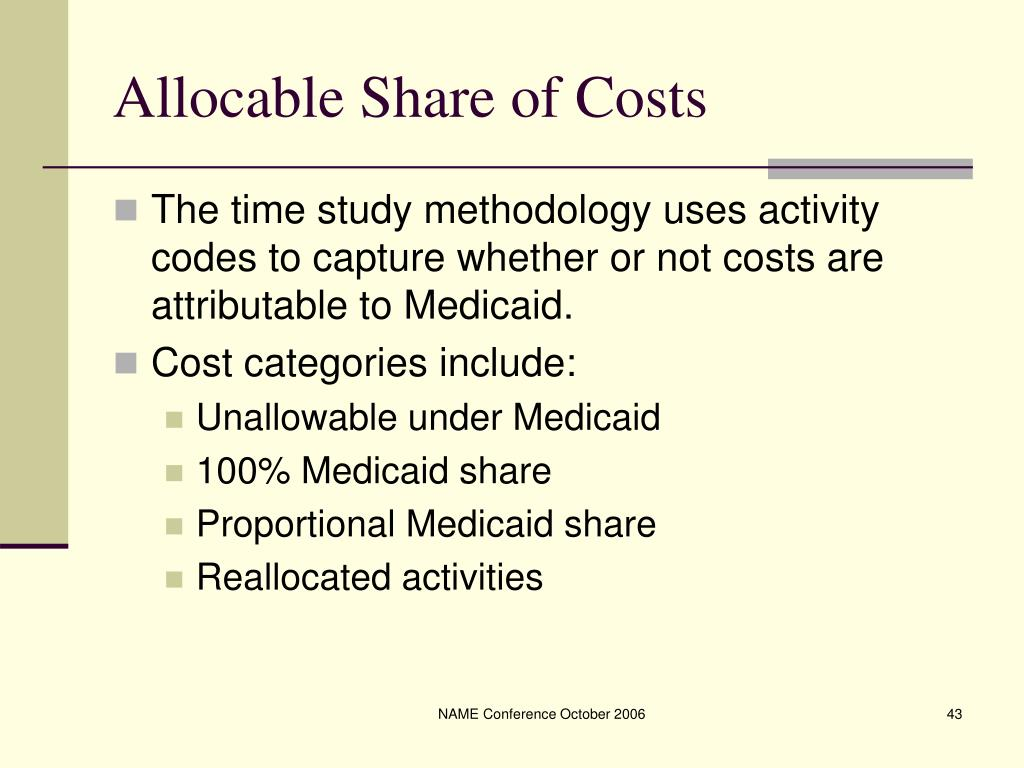 Allocable Share of Costs