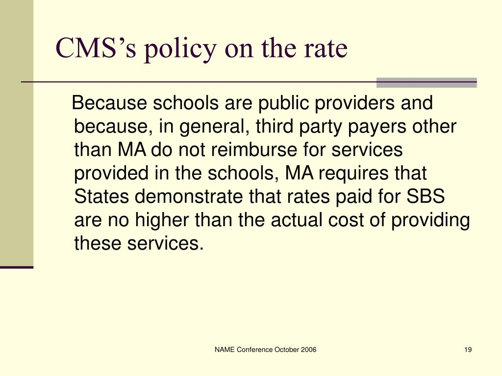 CMS's policy on the rate