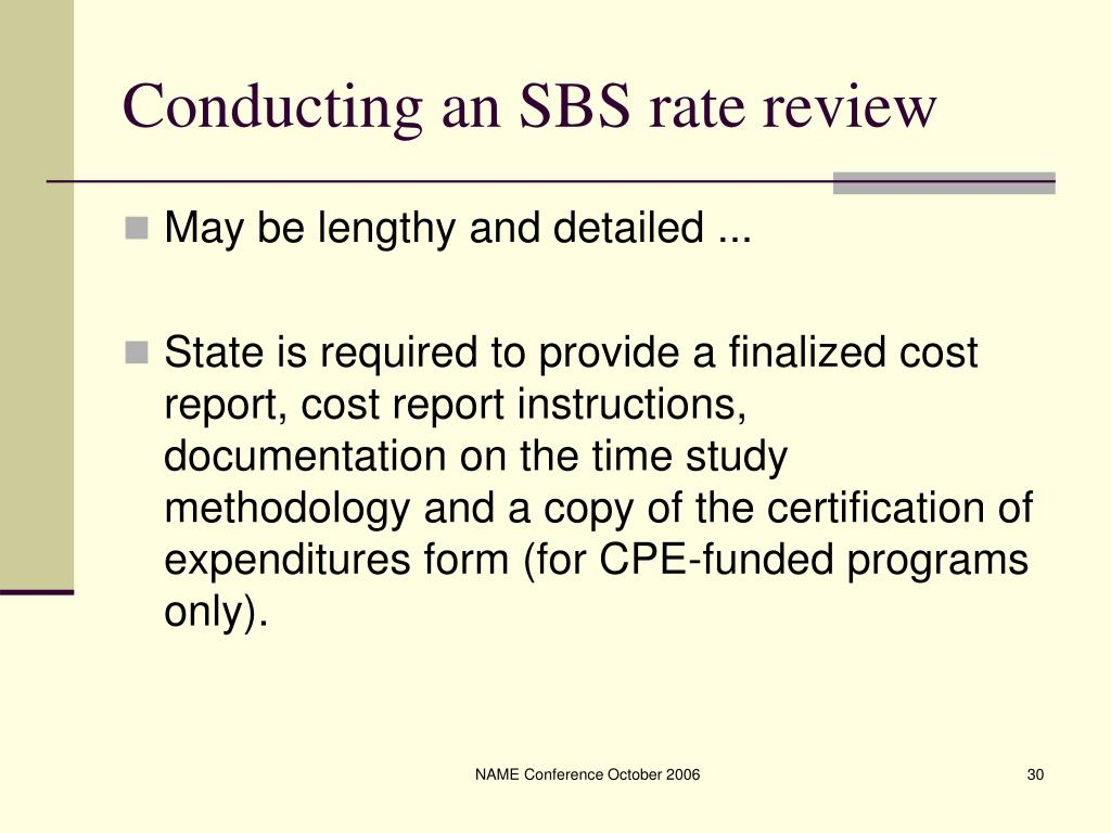 Conducting an SBS rate review