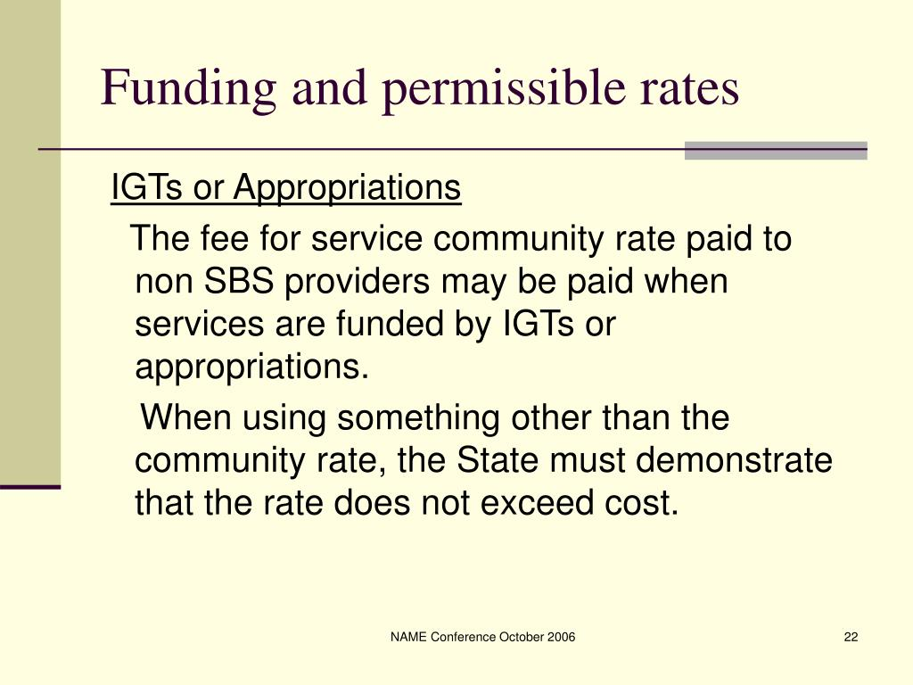 Funding and permissible rates