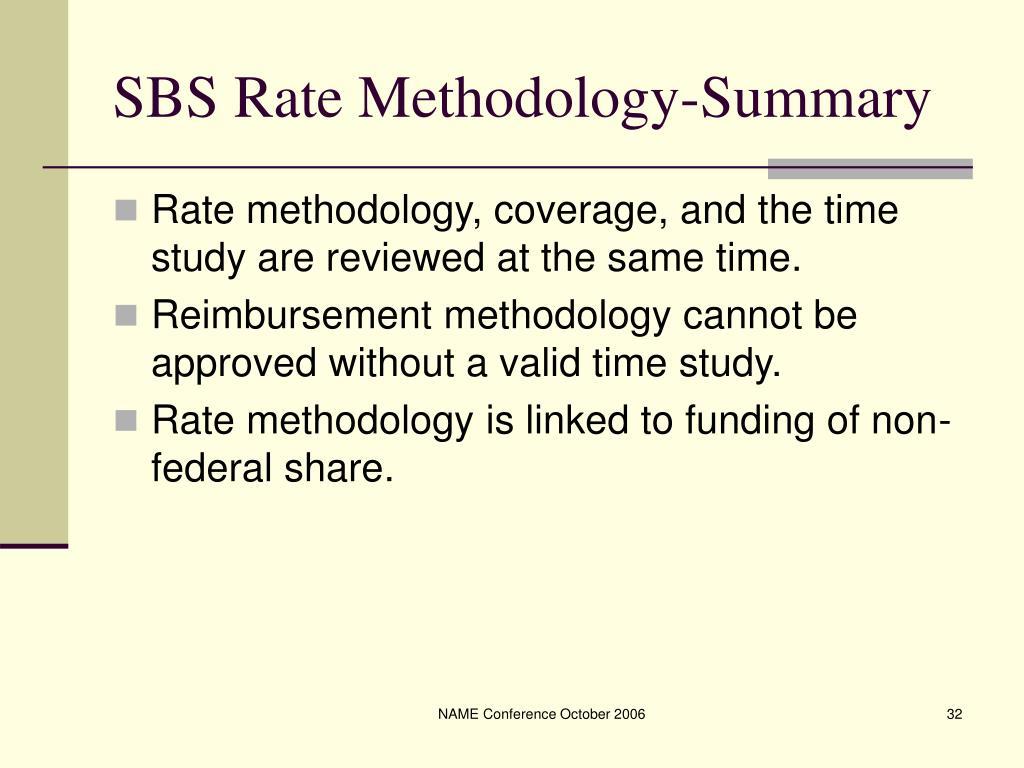SBS Rate Methodology-Summary