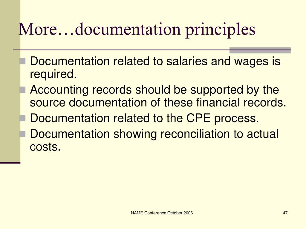 More…documentation principles