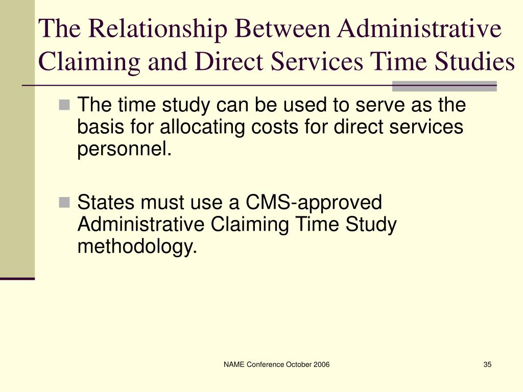 The Relationship Between Administrative Claiming and Direct Services Time Studies