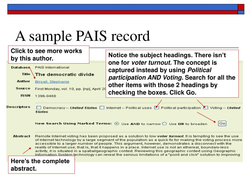A sample PAIS record